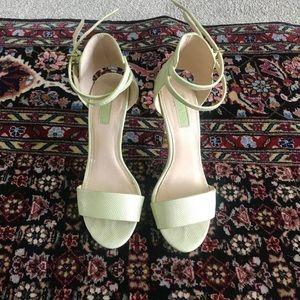 Top Shop mint snake print heeled sandals.